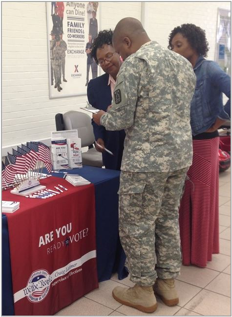 Soldier registering to vote